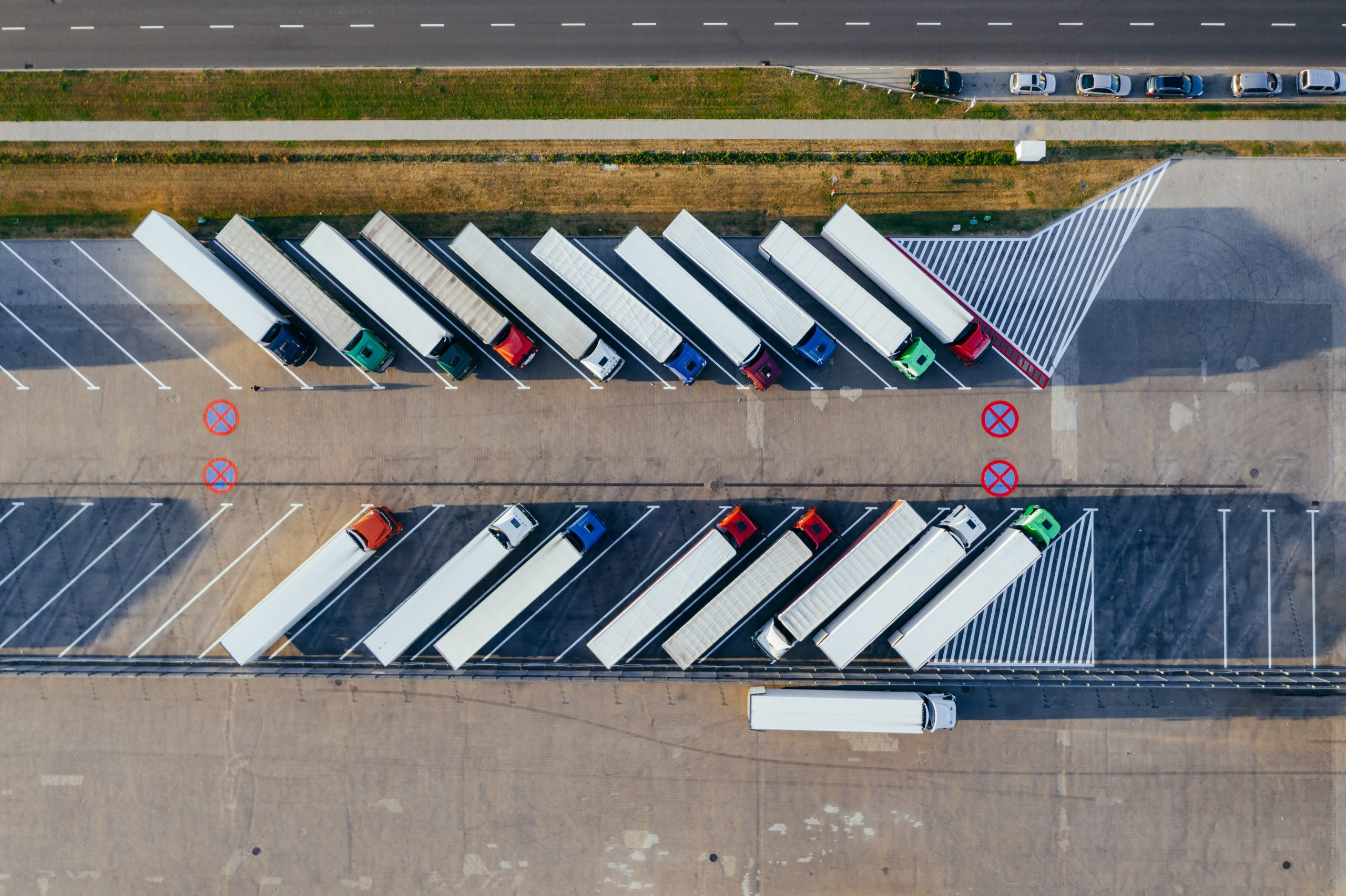 Trucks seen from above